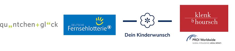 Logos von quäntchen+glück, Deutsche Fernsehlotterie, Dein Kinderwunsch, Klenk & Hoursch