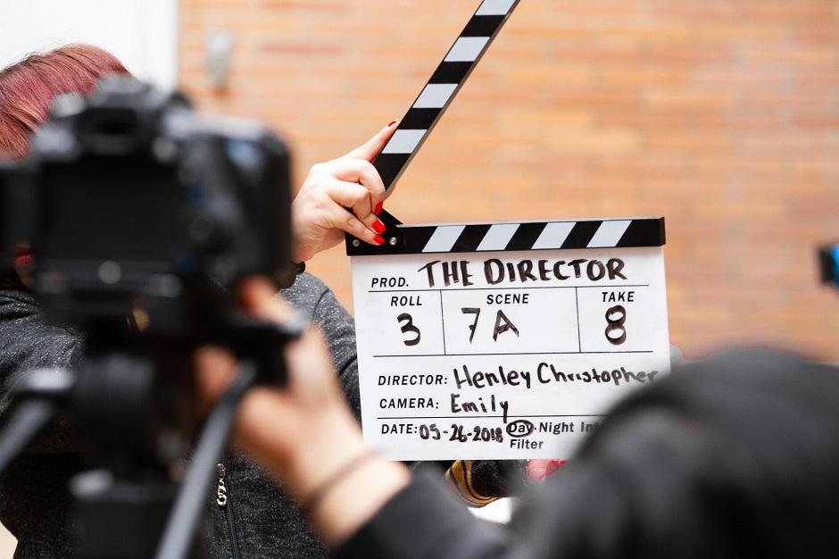 Filmklappe die gefilmt wird